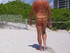 back blue black baggie blk strap fence (bmicro2000) Tags: man male beach outdoors thong tiny gstring teardrop baggie manthong minimalswimwear microkini thongman microbeachwear