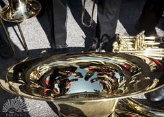 band mates (Blinkofanaye) Tags: reflection cherry march washingtondc blossom feathers band hats marching tuba brass helmets