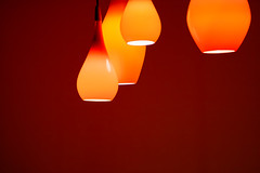 IMG_9874: Let there be light! (Peter ZZZ) Tags: red orange glass lightbulb cafe warm decoration minimalism ambience downlights canonef24105mmf4lisusm