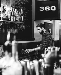 Reach (_Ruby Huang_) Tags: seattle city light boy portrait urban blackandwhite bw man reflection guy love glass coffee monochrome shirt lens beard 50mm prime check pub nikon perfect mood wine candid bricks watch profile hipster dude belltown brunch booze local vibes chalkboard pnw d800