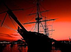 HMS WARRIOR at DUSK (conespider) Tags: winter sunset water silhouette outside nikon outdoor dusk hampshire portsmouth warship sailingship portsmouthharbour hmswarrior 2015 portsmouthvicmarket