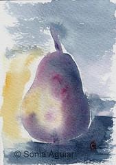 Pear watercolor -4 (Sonia Aguiar (Mallorca)) Tags: stilllife abstract art watercolor wallart watercolour acuarela aquarell pera soniaaguiar pearpainting pearstilllife acuarelassonia pearwatercolor