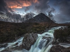 Buckle Falls (Dave Brightwell) Tags: trees sunset sky mountains clouds canon photography scotland waterfall rocks fineart scenic scottish glencoe filters buckle mor buachaille vanguard hoya etive formatthitech