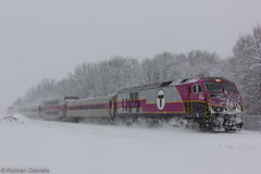 HSP-46 2035 at Titicut St (Roman Daniels) Tags: old snow t mbta colony middleboro lakeville mbcr 2035 keolis hsp46