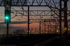 twilight viewing from station (gemapozo) Tags: japan twilight pentax railway jp chiba 日本 signal 夕景 k3 千葉県 線路 minamifunabashi 南船橋駅 船橋市 72e tamronsp90mmf2811macro
