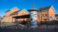 Lissewege Train Station, Bruges, Belgium (jag9889) Tags: street city house building station architecture advertising europe belgium belgique outdoor ad pillar brugge belgi advertisement be bruges column bel brujas belgien westflanders 2016 brgge railraod lissewege jag9889 20160119
