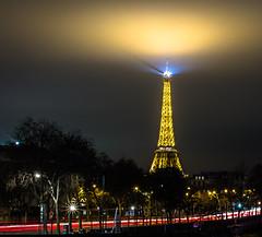 Saint Eiffel Tower - Paris (Matthieu Manigold) Tags: city longexposure light paris france tower monument saint fog night clouds lights nikon lumire eiffel nuit ville