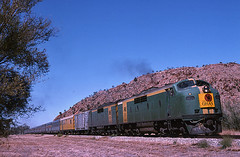 Ghan at Alice Springs (Bingley Hall) Tags: railroad train gm diesel transport engine rail railway australia anr an bulldog transportation headboard outback locomotive passenger iconic northernterritory ghan alicesprings emd clydeengineering australiannational 567c