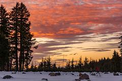 Sunset in Oregon (GlennCantor (theskepticaloptimist)) Tags: winter snow oregon hiking crater craterlake redsky
