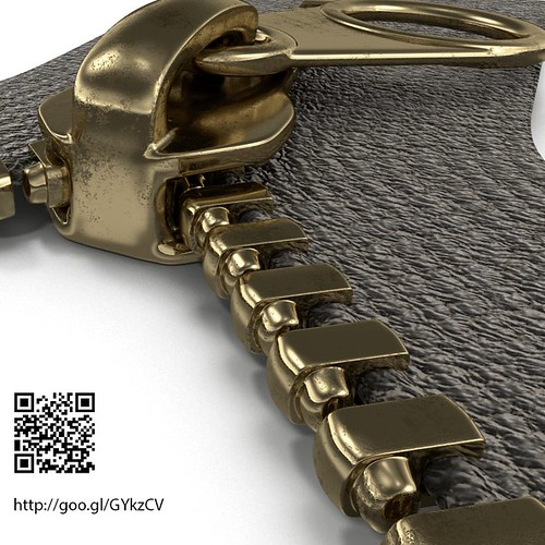 3D Rendering of Brass Zipper