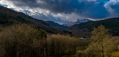 View up the Lledr Valley, Snowdonia. (christaff1010) Tags: uk sky panorama sun sunlight snow mountains green nature wales clouds landscape natural unitedkingdom britain hills gb snowdonia gwynedd brogarmon