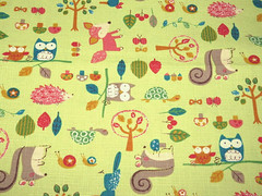 2358C - Lovely Animal Forest Fabric in Lemon Green (ikoplus) Tags: trees green mushroom animal animals forest lemon squirrel turtle snail fabric commercial fox kawaii hedgehog lovely supplies owls 2358c ikoplusfabric