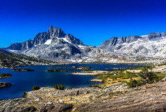 Mountains are Calling (ScorpioOnSUP) Tags: california sky lake snow mountains fall outdoors rocks day glacier wilderness peaks sierranevada jmt highsierra anseladamswilderness noclouds thousandislandlake johnmuirtrail bannerpeak mtritter mrritter anaseladamswilderness