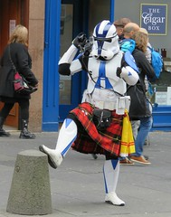 Storm Trooper in kilt (jimsawthat) Tags: uk urban scotland weird starwars funny unitedkingdom royalmile stormtrooper streetperformer oldtown edinbugh