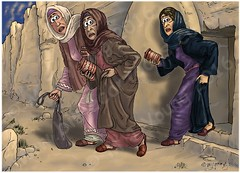 Mark 16 - Resurrection of Jesus - Scene 04 - Bewildered (Martin Young 42) Tags: stone sunrise easter mark empty jerusalem jesus tomb earlymorning salome marymagdalene resurrection marythemotherofjames marksgospel mark1657