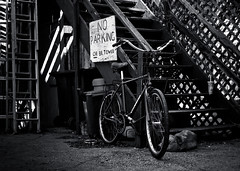 The Bad Bicycle (thelearningcurvedotca) Tags: road park street city travel urban blackandwhite toronto ontario canada blur monochrome bike bicycle fun outside outdoors photography cycling photo blackwhite alley friend downtown foto photographer ride exercise noiretblanc unique parking transport lifestyle style blurred canadian photograph alleyway cycle transportation biking parked recreation activity fitness stylish iamcanadian bwemotions torontoist bikingtoronto blackwhitephotos bej true2bw cans2s blackandwhiteonly bwartaward discoveryphotos yourphototips bikeunion briancarson blogtophoto bwmaniacv2 thelearningcurvephotography wwwthelearningcurveca