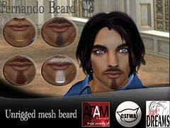 Fernando Beard V2 (mysticdreams0607) Tags: new brown white black adam hair beard goatee mesh avatar tent attachment blonde latest variety cosmetics hud facial prim catwa unrigged