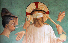 Fra Angelico, Mocking of Christ (detail), 1440-42, fresco, 181 x 151 cm, Cell 7 of the Convento di San Marco, Florence, Italy. (ArtAppreciated) Tags: life detail art history century painting religious weird italian san christ details fineart jesus surreal blogs artists convento di marco christianity 15th fresco renaissance narrative fra blindfold mocking angelico martyrdom quattrocento artblogs tumblr artoftheday artofdarkness artappreciated artofdarknessco artofdarknessblog pixeleum date1442