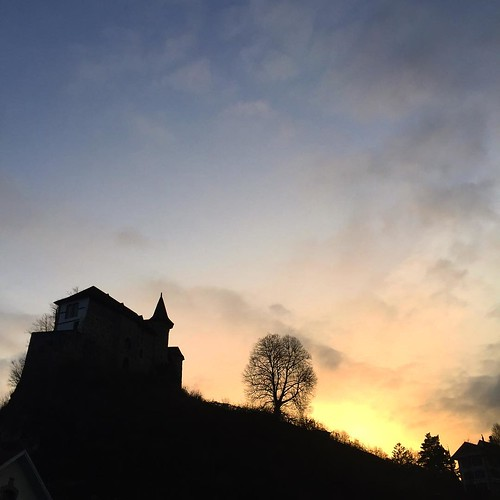 Sunset behind the castle.