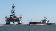 Oil Age (WalrusTexas) Tags: ocean sky industry water ship infrastructure oil portaransas anthropocene