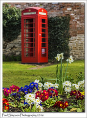 Red Phone Box (Paul Simpson Photography) Tags: flowers red nature spring village phonebooth icon iconic naturalworld daffodils telephonebox gpo callbox britishtelecom lincs northlincolnshire photosof imageof photoof britishicon scawby imagesof sonya77 paulsimpsonphotography april2016