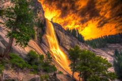 Fire Falls (andy.gittos) Tags: california park longexposure usa mist america fire waterfall united nevada hike falls trail national yosemite states hdr horsetail firefall