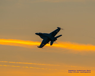 AN EARLY EA-18G BREAK AGAINST THE SUNSET