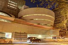 The Solomon Guggenheim Museum (Radical Retinoscopy) Tags: city nyc newyorkcity nightphotography newyork museum movement lowlight traffic guggenheim fifthavenue hdr canon1740 newyorknight solomonguggenheimmuseum canont6s