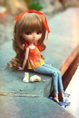 Autumn's Sunset ADAW 15/52 (Antique Wolf) Tags: sunset orange brown flower cute nature water hair toy toys shoes doll pretty dolls sitting awesome adorable curls sneakers jeans peter week ribbon pullip pan lovely rement 27 zero pullips fleshtone obitsu adaw lolvely