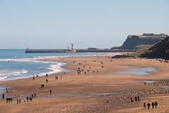Beach Walkers (ho_hokus) Tags: uk sea england beach coast seaside spring shoreline shore whitby coastline walkers northyorkshire sandsend 2016 d80 nikond80 coastofengland tamron18270mmlens