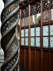Wood and Stone. (jenichesney57) Tags: wood lines stone spiral memorial arch mosaic yorkshire decoration arches carving panasonic ww minster glas dmc beverley panelling