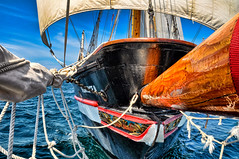 bow bed (JimfromCanada) Tags: ocean summer lake net water alone sailing ship quiet peace peaceful bow sail sheet tallship brigantine bowsprit stlawrenceii stlawrence2