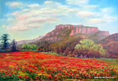 Poppie's field (Laura Climent) Tags: barcelona flowers landscape paisaje poppies campo flors santllorendelmunt amapolas matadepera roselles paperoles oilincanvas lauracliment