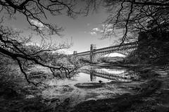 Britannia Bridge - Menai Strait (S Howlett) Tags: bridge blackandwhite wales blackandwhitephotography anglesey menaistrait landscapephotography britanniabridge simonhowlettphotography