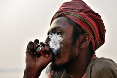 VARANASI, INDIA (Explore) (ulambert) Tags: portrait india smoking varanasi hindu hinduism sadhu benares gath ksh