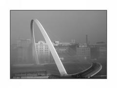 Gateshead Millennium Bridge (Ali's view) Tags: mist river newcastle tyne millenniumbridge gateshead fogonthetyne
