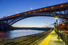 Hudson Crossing (Lojones13) Tags: new york city railroad bridge river landscape waterfront dusk trainstation steelarchbridgeoutdoor
