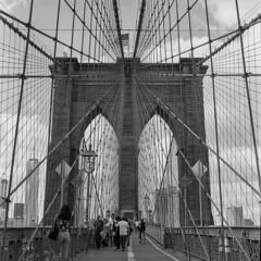 New York_20160423_004 (falconn67) Tags: city nyc newyorkcity travel bridge bw newyork mamiya film brooklyn blackwhite historic 120film brooklynbridge c330