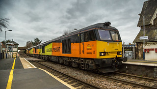 On a miserable 30-12-2015 Colas Railfreight Class 60's No's 60085, 60056 & 60087 travel through Lowdham Station with a Besot to Immingham Loco Move