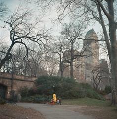 big sad bird (nottaponb) Tags: park newyorkcity 120 film rolleiflex mediumformat bigbird loneliness puppet central sesamestreet lonely