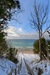 Lake Michigan  stepping into winter (Ken Scott) Tags: winter usa snow tree stairs michigan steps january stairway lakemichigan greatlakes hdr freshwater voted leelanau 2016 manitouisland 45thparallel sbdnl sleepingbeardunenationallakeshore mostbeautifulplaceinamerica