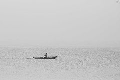 Lost in the mist (adithyakrishnakumar) Tags: morning blackandwhite bw mist lake fog canon eos boat early fisherman arty artistic minimalism minimalistic tamil bnw bwphotography chengalpet paranur 1200d kolavai kolavailake