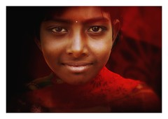 an indian smile (handheld-films) Tags: travel red portrait people woman india girl smile smiling closeup female eyes women warm indian portraiture subcontinent eface