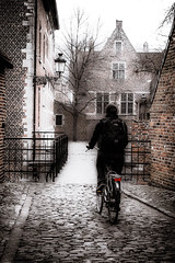 Crossing the bridge - Into the light (vale0065) Tags: street bridge woman girl bicycle leuven fence streetlight belgium belgië backpack brug belgica vrouw meisje louvain buiten fiets hek straat begijnhof beguinage coblestone rugzak omheining kassei straatlamp kinderkop
