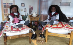 21. Playing with their Dolls (Foxy Belle) Tags: family original house black classic girl night toy bed bedroom inch war doll quilt heart african album mini company civil walker american ag 1960s shawl knitted gown 18 addy boarding diorama pleasant dollhouse warmer aduke
