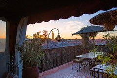 Riad andalla rooftop. (Darren-Muir) Tags: africa sunset people rooftop square market minaret el busy morocco marocco marrakech marrakesh chill riad koutoubia fna jemaa djemaa andalla