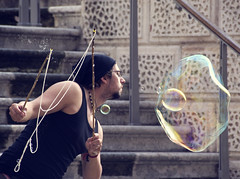 Blowing Bubbles (albireo 2006) Tags: kiss breath performance streetphotography bubbles blowing malta performer valletta blowingbubbles