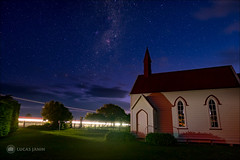 Star and Church (Lucas Janin | www.lucasjanin.com) Tags: longexposure blue light newzealand sky cloud plant color building tree green church night plante iso800 outdoor lumière vert ciel wellington fujifilm 24mm nuage 16mm nuit arbre eglise couleur f25 lightroom lightstream longueexposition pirinoa xt1 300sec lucasjanin lightroom6 xf16mmf14rwr