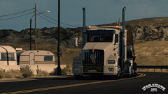 ats_00104 (ets2.morawatz) Tags: california road sun white hot west truck screenshot day desert nevada rig trailer semitruck sleeper ats kenworth t800 morawatz morawatztrucking americantrucksimulator