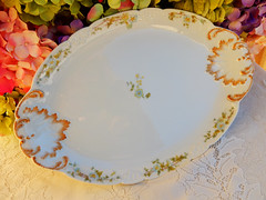 Limoges Porcelain Serving Platter ~ Morning Glory ~ Gold (Donna's Collectables) Tags: morning gold glory platter porcelain serving ~ limoges